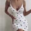 Butterfly Print V-Neck Backless Mini Dress 90